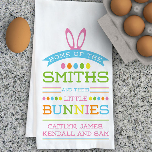Easter home gifts personalized easter decor personalized little bunnies kitchen towel negle Images