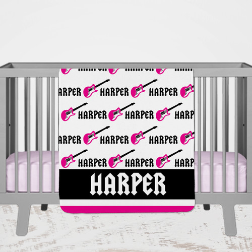 Personalized Guitar Blankets for Baby and Toddler