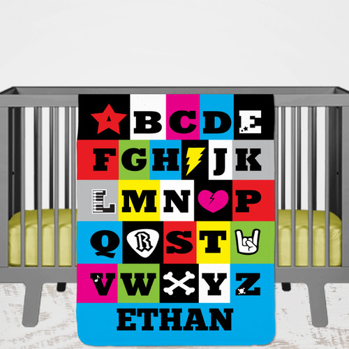 Personalized Rock & Roll Alphabet Baby Blanket