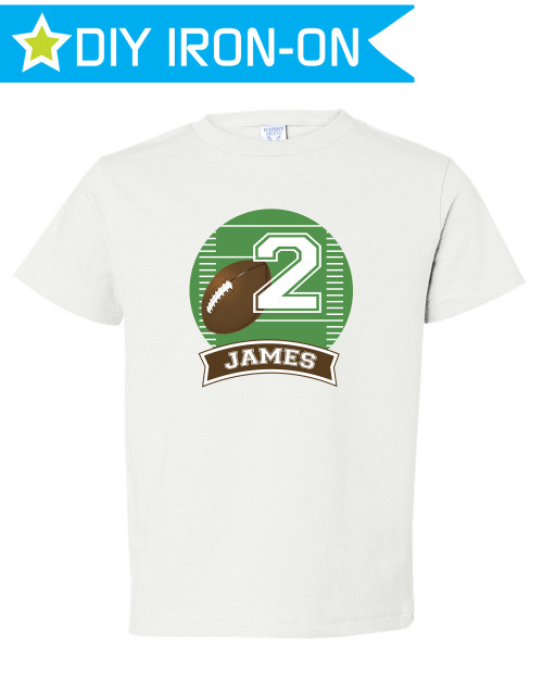 Personalized Football Birthday T-Shirt Iron-On Transfer for Kids