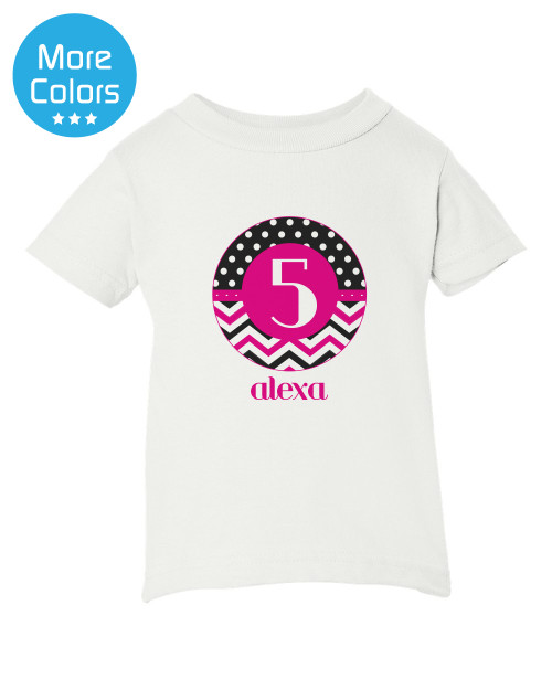 Personalized Birthday Iron On Transfer: Chevron Dot