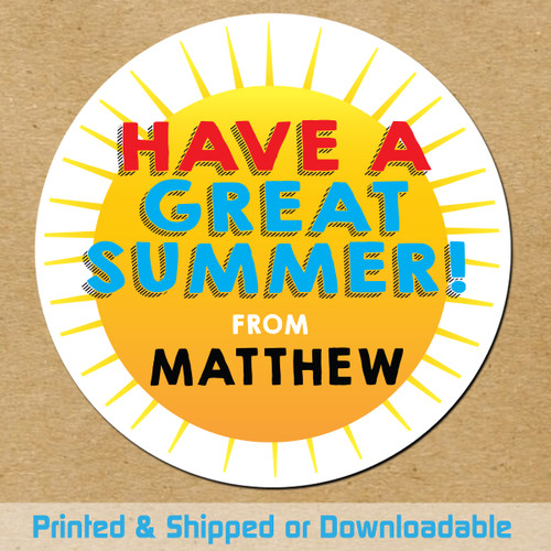 Personalized End Of School Favor Stickers