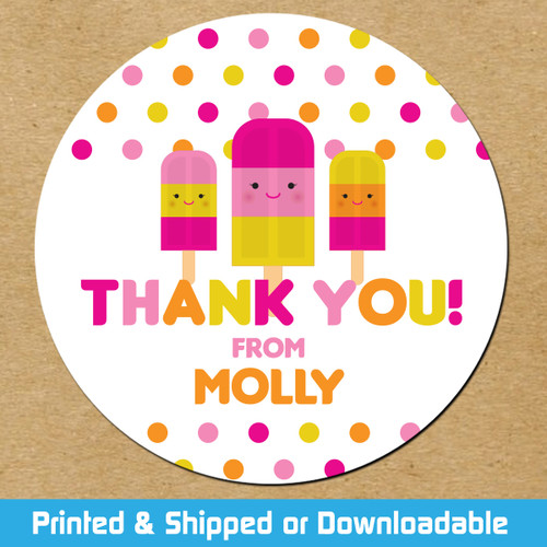 Personalized Party Favor Stickers: Pink Popsicles