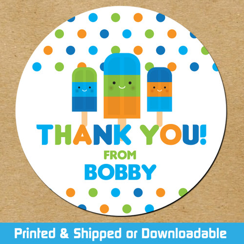 Personalized Party Favor Stickers: Blue Popsicles