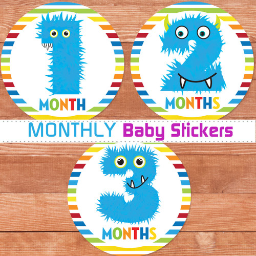 Baby Boy Month by Month Stickers - Monster