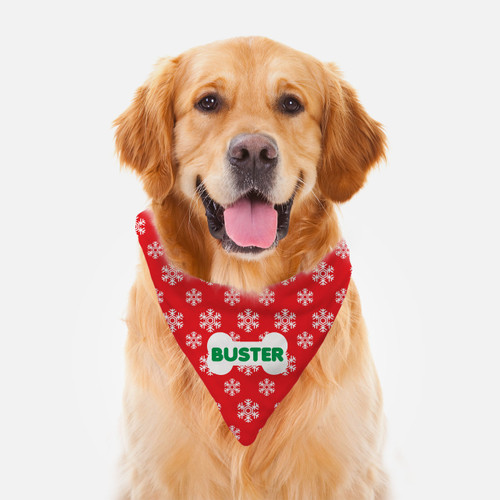 Personalized Dog Bandana: Snowflakes