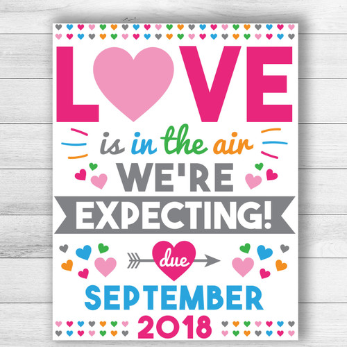 Personalized Love Is In The Air Valentineu0027s Day Pregnancy Announcement Sign