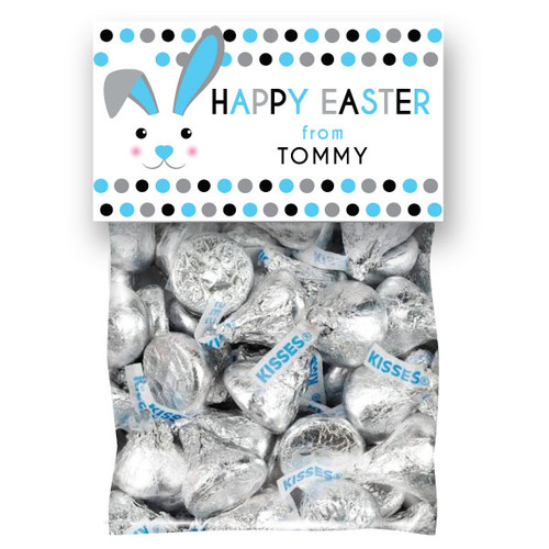 Personalized Blue Mod Bunnies Easter Mini Favor Bag Kit