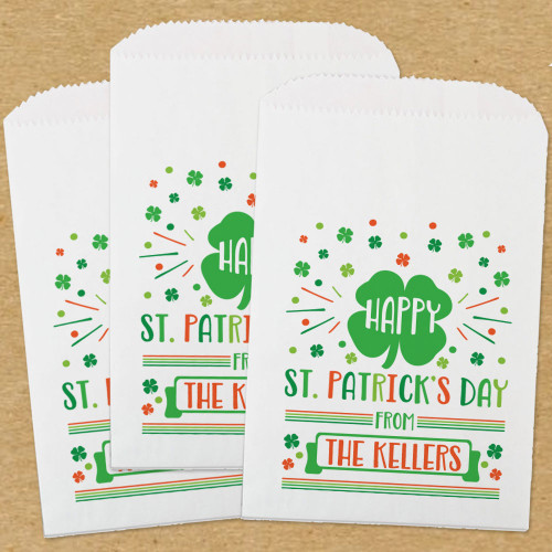 Personalized Paper Favor Bags: Happy St. Patrick's Day