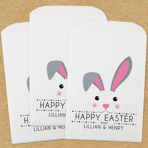 Personalized Paper Favor Bags: Mod Bunnies