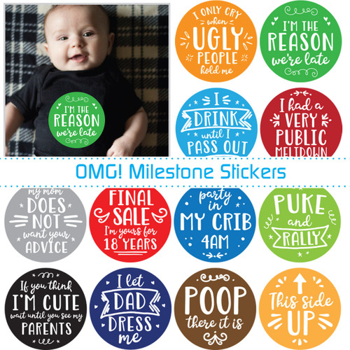 My First OMG Moments Baby Stickers: Bold Blues
