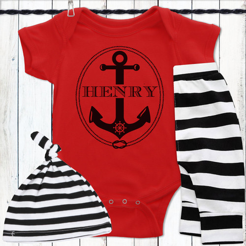 Personalized Ahoy, Baby! Gift Set - Nautical Anchor Baby Clothing