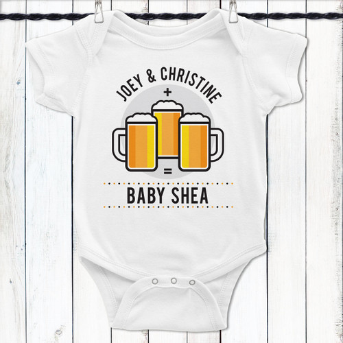 Personalized Mommy + Daddy + Beer = Me Baby Shirt