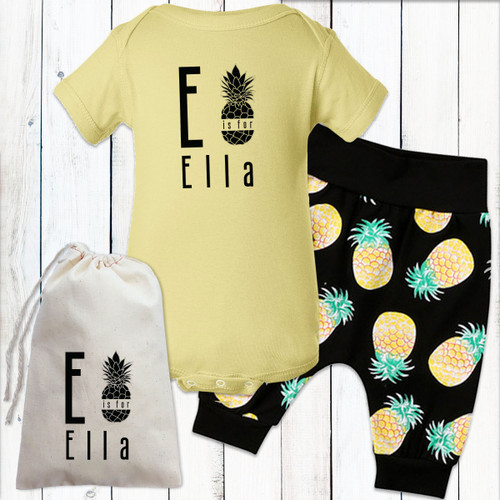 Personalized Pretty Pineapples Baby Girl Gift Set