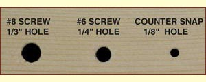 Counter Snap Screw Holes