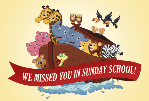 We Missed You In Sunday School Postcards (A) - Pack of 25