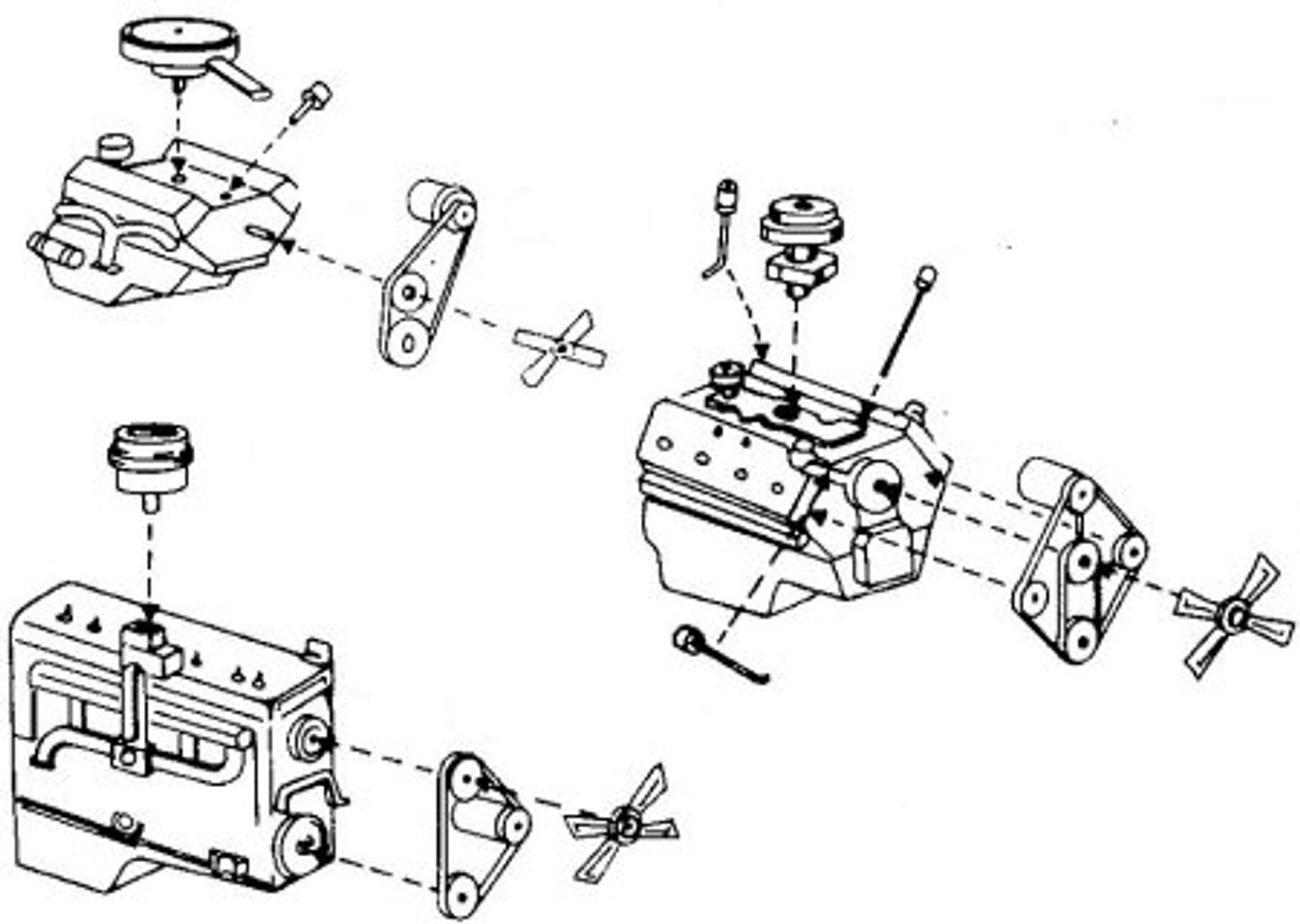 3 Engine Kits: Ford flathead V-8, Chevy small block V-8, Dodge flathead 6 cylinder Kits