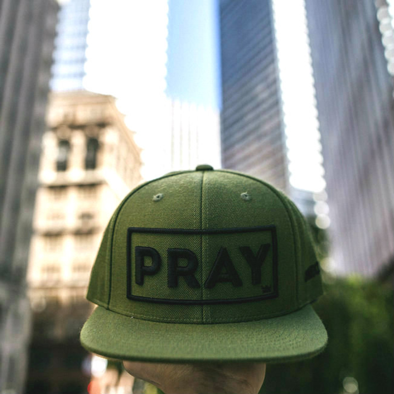 Classic PRAY - Snapback Hat - Olive