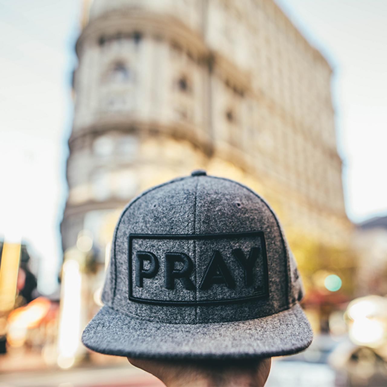 Classic Melton Wool PRAY Gray Strapback Hat, Christian Streetwear