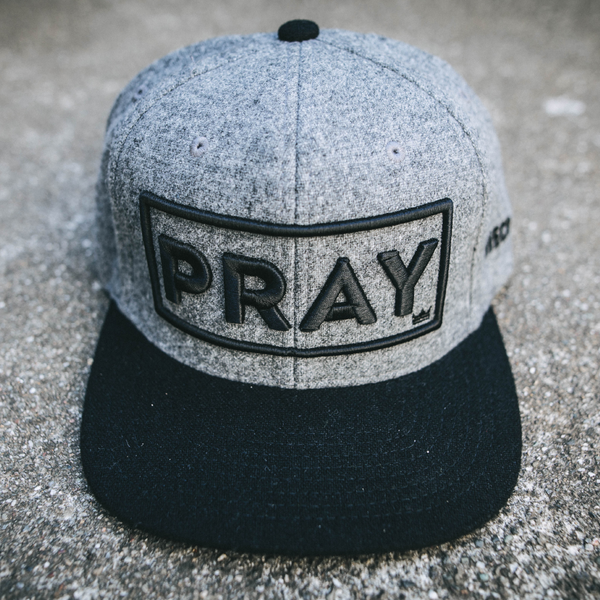 Wool Classic PRAY - Strapback Hat - Gray/Black