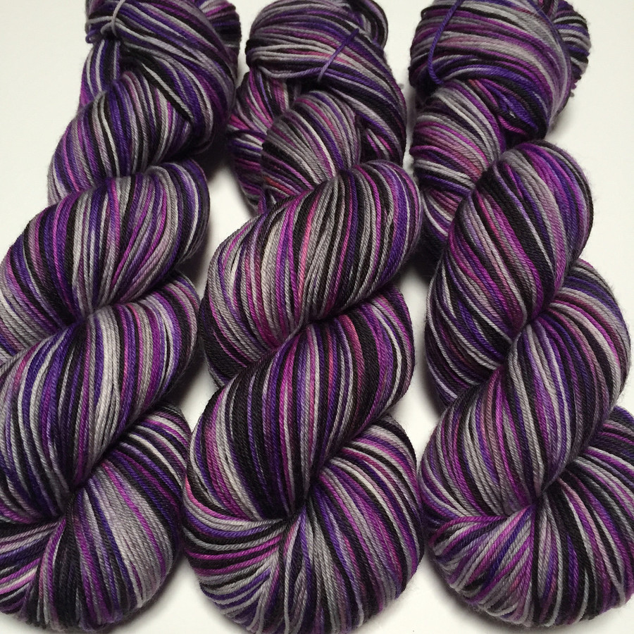 """""""Gothic Romance"""" Hand Dyed Hitchhiker Sock Yarn"""