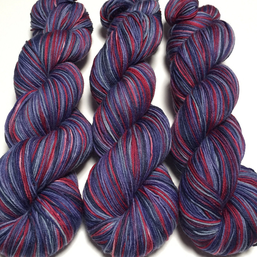 """""""Old Glory"""" Hand Dyed Hitchhiker Sock Yarn"""