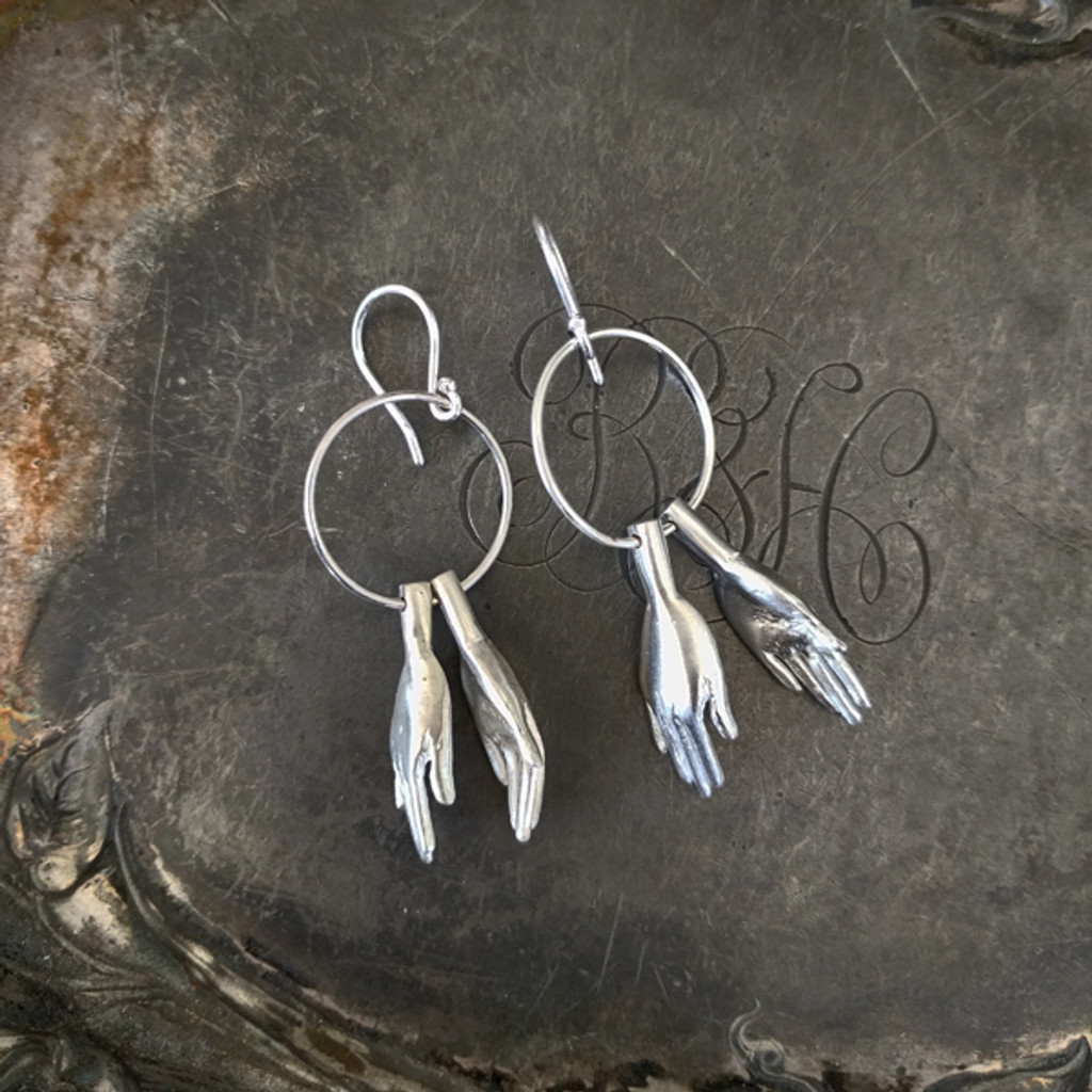 Clapping Hands Silver Earrings