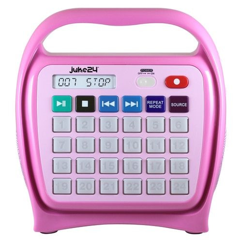 HamiltonBuhl Juke24 - Portable, Digital Jukebox with CD Player and Karaoke Function - Pink
