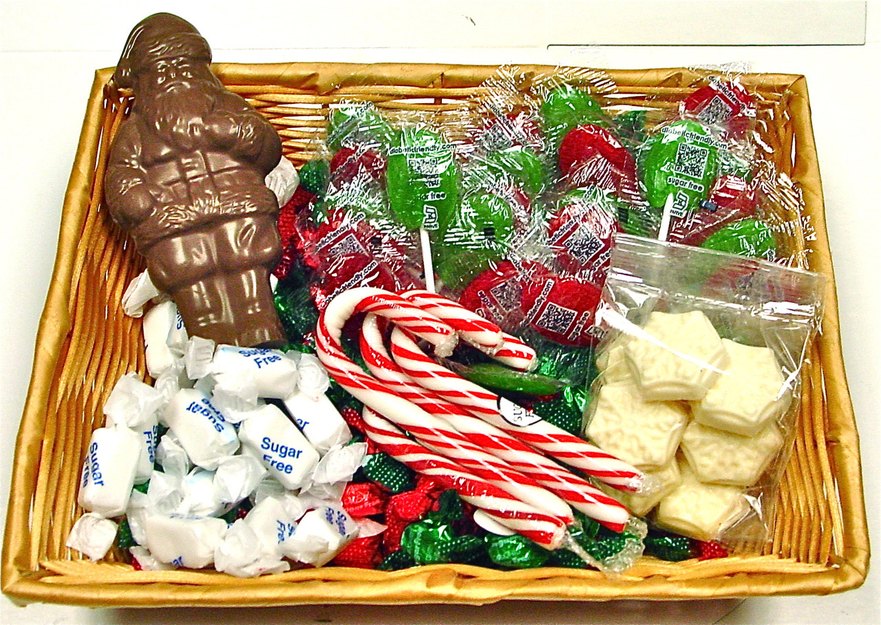 Sugar free christmas gift basket sugar free christmas gift basket contains candy chocolate santa lollypops taffy negle Images