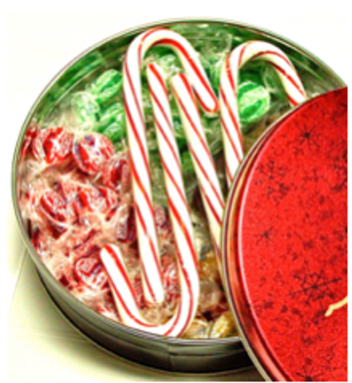 Christmas Themed Tin Filled with Sugar Free Treats (about 13 oz)