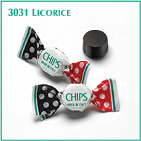 Licorice CHIPS by Checkmates (SUGAR) lightly mentholated miniature pastilles (bulk bag) By the pound