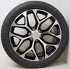 "Black and Machine 22"" Snowflake Wheels with Bridgestone Tires for Chevy Silverado, Tahoe, Suburban - New Set of 4"