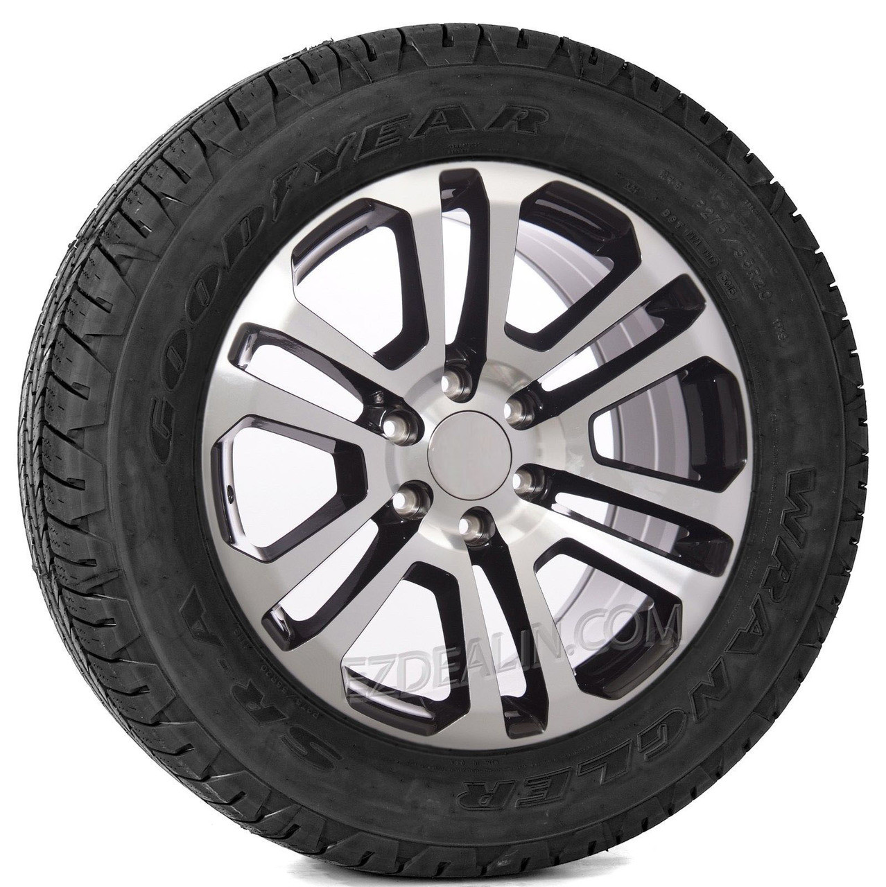 """Black and Machine 20"""" Split Spoke Wheels with Goodyear Tires for Chevy Silverado, Tahoe, Suburban - New Set of 4"""