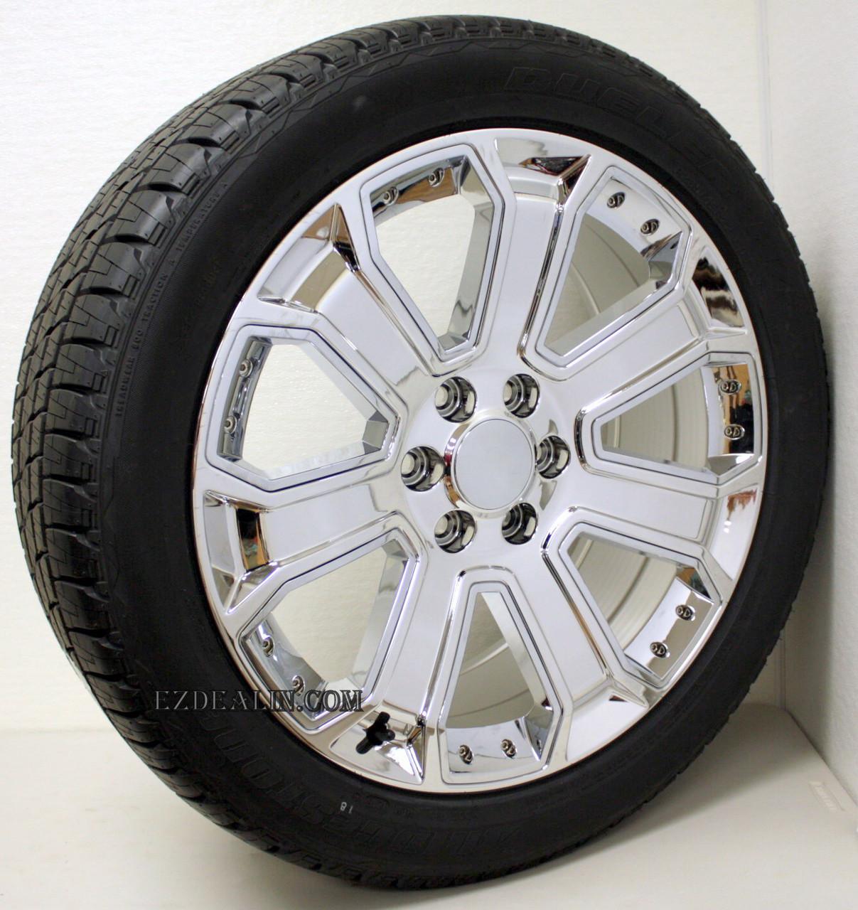 "Chrome 22"" With Chrome Inserts Wheels with Bridgestone Tires for GMC Sierra, Yukon, Denali - New Set of 4"