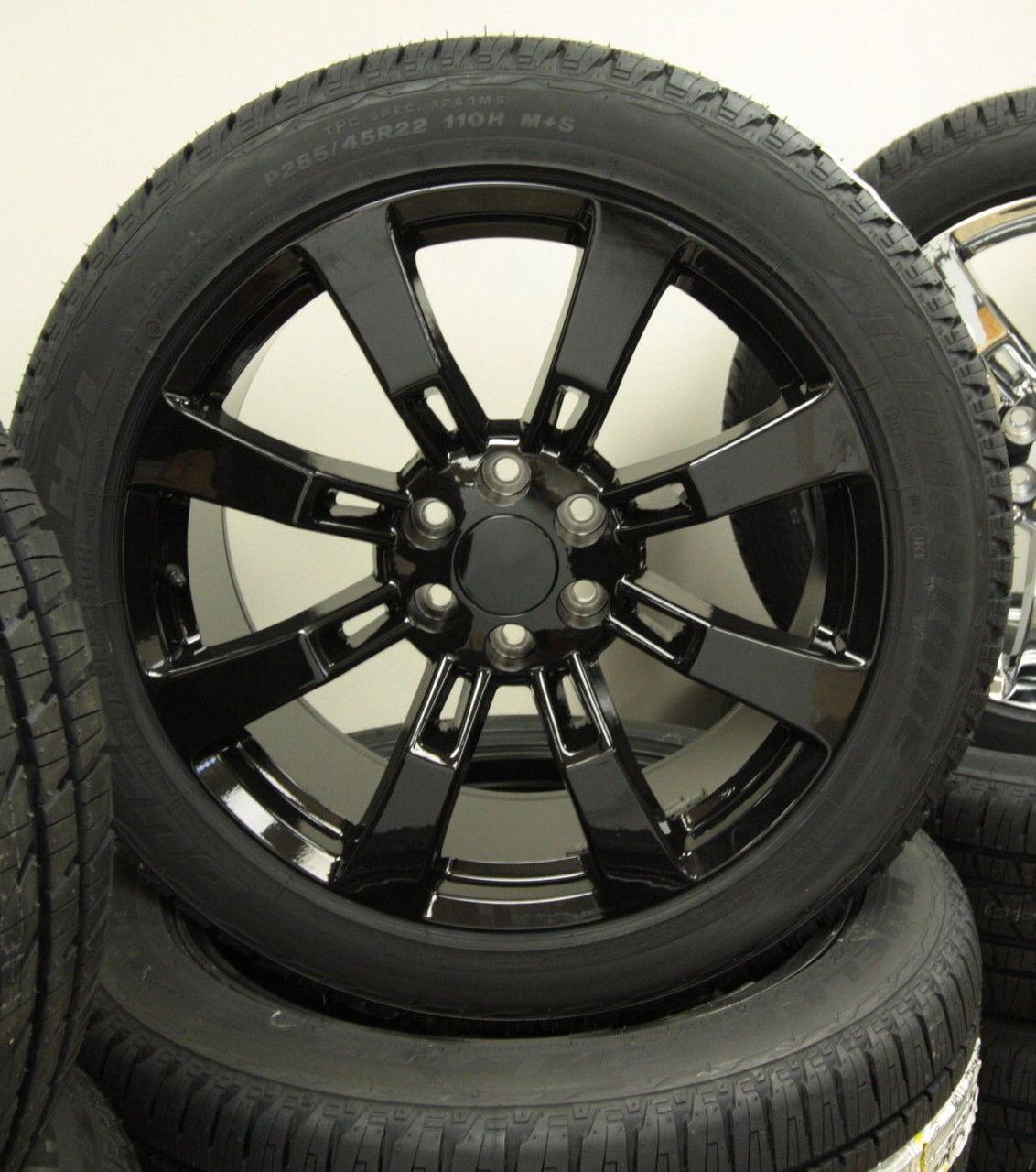 "Gloss Black 22"" Eight Spoke Wheels with Bridgestone Tires for Chevy Silverado, Tahoe, Suburban - New Set of 4"