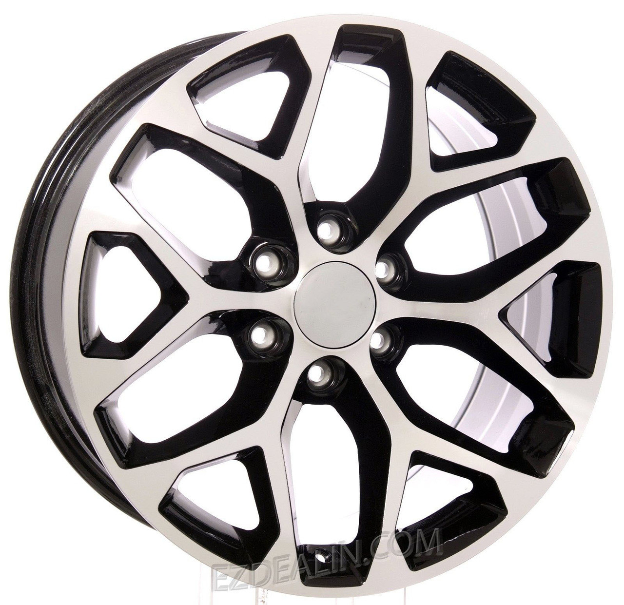 """Chevy Style Black and Machined Snowflake 20"""" Wheels"""