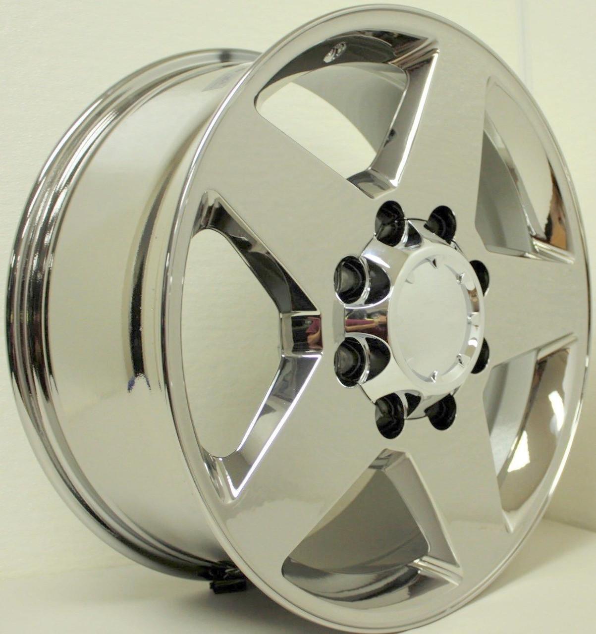 "Chrome 20"" 8 Lug 8x180 5 Spoke Wheels for 2011-2018 Chevy 2500 3500 - New Set of 4"