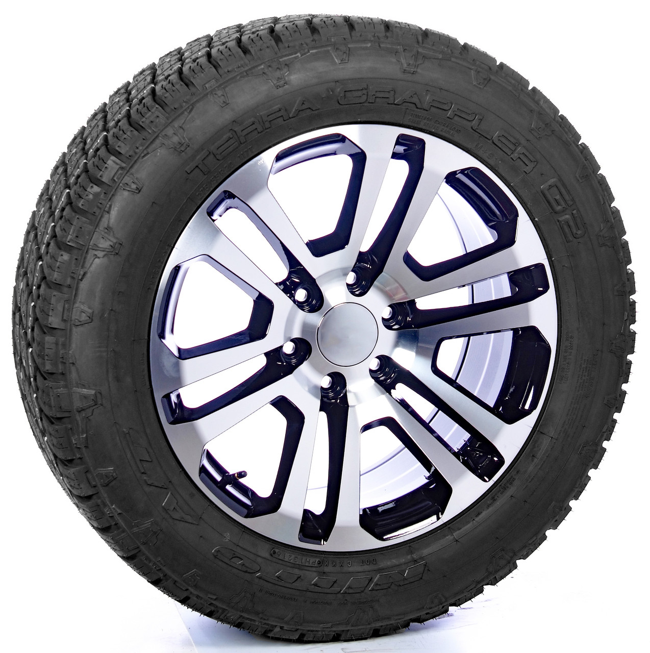 """Black and Machine 20"""" Split Spoke Wheels with Nitto A/T Tires for Chevy Silverado, Tahoe, Suburban - New Set of 4"""