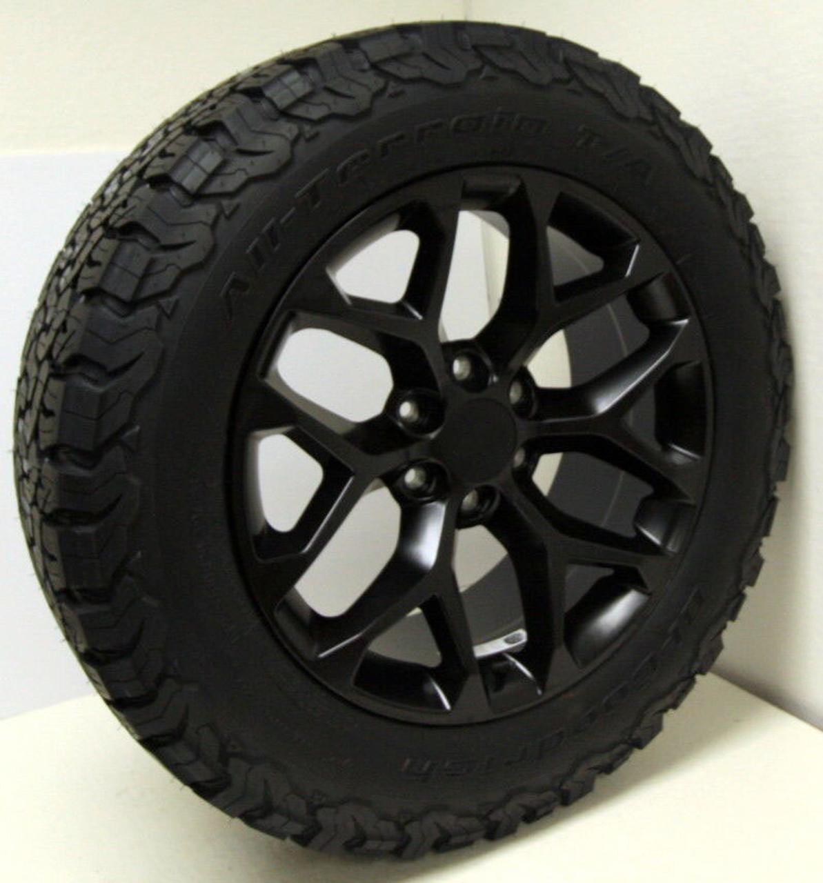 "Satin Matte Black 20"" Snowflake Wheels with BFG KO2 A/T Tires for Chevy Silverado, Tahoe, Suburban - New Set of 4"