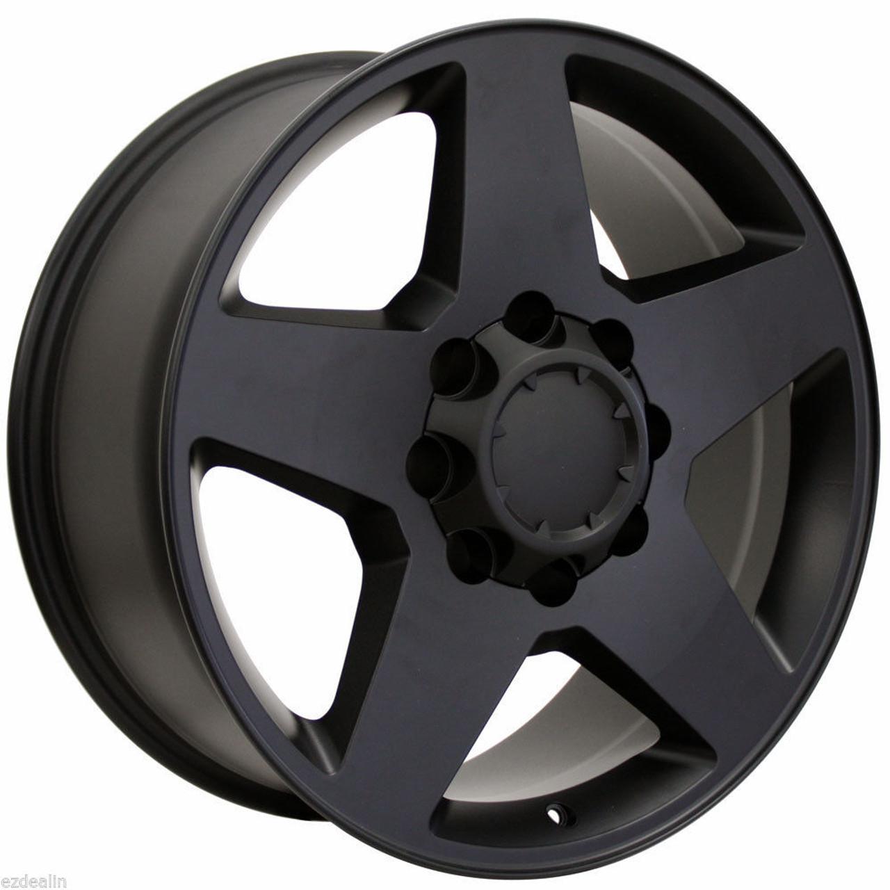 "Satin Matte Black 20"" 8 Lug 8-165 Wheels for 2001-2010 GMC 2500 3500 - New Set of 4"