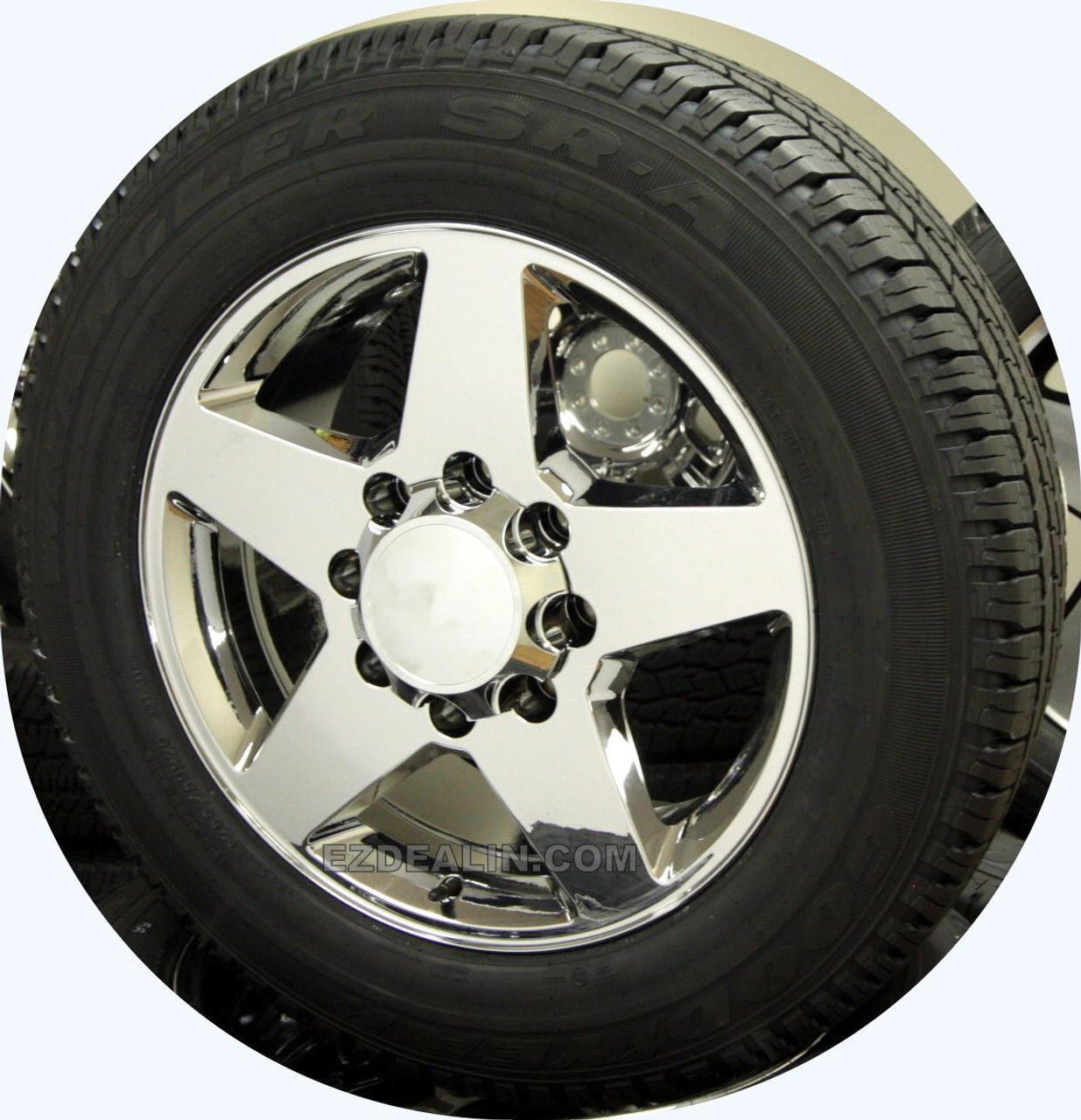 "Chrome 20"" 8 Lug 8-180 Wheels With Goodyear Tires for 2011-2018 GMC Sierra, Denali HD 2500 3500 - New Set of 4"