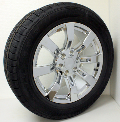 """New Set of 4 Chrome 20"""" Eight Spoke Wheels with Goodyear Eagle LS2 Tires for GMC Trucks or SUVs"""