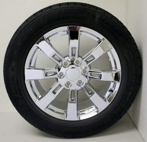 "Chrome 20"" Eight Spoke Wheels with Goodyear Tires for GMC Sierra, Yukon, Denali - New Set of 4"