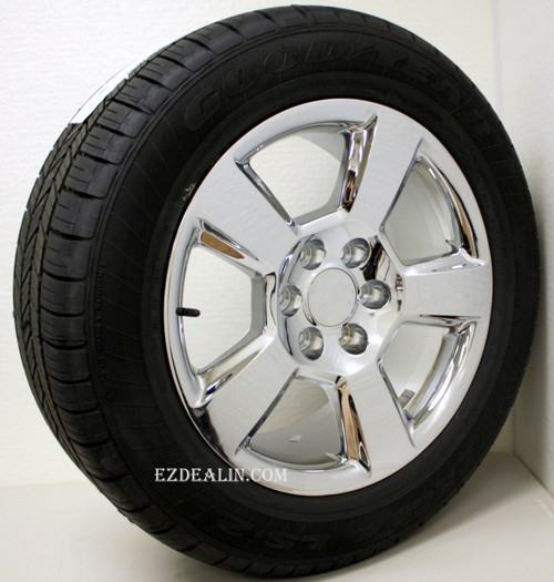 "Chrome 20"" New Style LTZ Wheels with Goodyear Tires for Chevy Silverado, Tahoe, Suburban - New Set of 4"