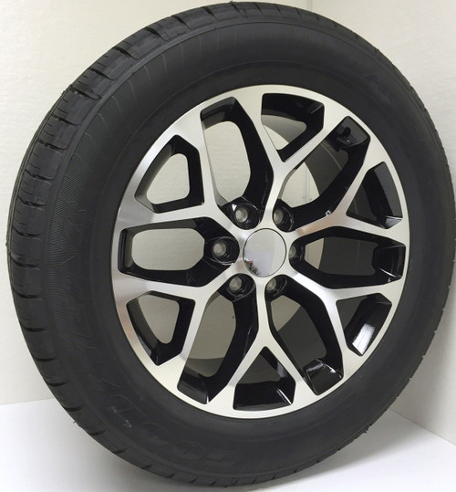 """New Set of 4 Black and Machine 20"""" Snowflake Wheels with Goodyear Eagle LS2 Tires for Chevy Trucks or SUVs"""