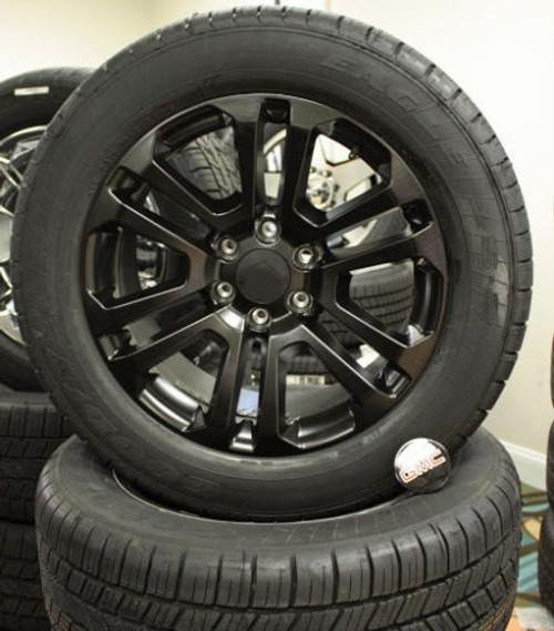 "Satin Matte Black 20"" Split Spoke Wheels with Goodyear Tires for Chevy Silverado, Tahoe, Suburban - New Set of 4"