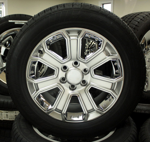 "Hyper Silver 20"" With Chrome Inserts Wheels with Goodyear Tires for Chevy Silverado, Tahoe, Suburban - New Set of 4"