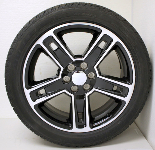 "Black and Machine 22"" Five Spoke Wheels with Bridgestone Tires for GMC Sierra, Yukon, Denali - New Set of 4"