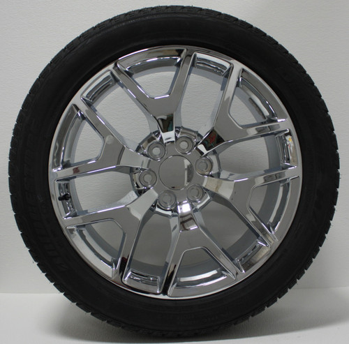 "Chrome 22"" Honeycomb Wheels with Bridgestone Tires for Chevy Silverado, Tahoe, Suburban - New Set of 4"
