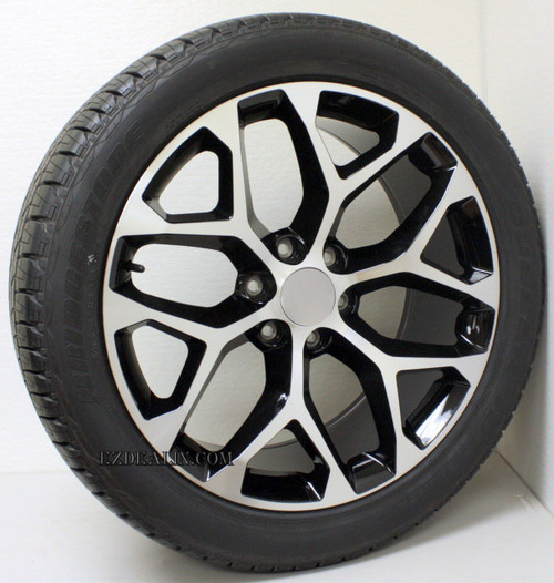 "Black and Machine 22"" Snowflake Wheels with Bridgestone Tires for Chevy Silverado, Tahoe, Suburban - New Set of 4"